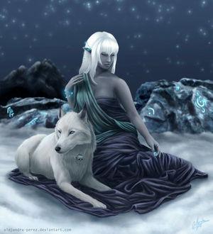 Фото Белокурая готическая девушка с закрытыми глазами сидит с белым волком, на шее которого висит череп, на фоне звездного неба и скал, by Anhyra