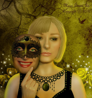Фото Грустная девушка с ожерельем на шее снимает маску с улыбкой на фоне розы, дерева и птицы, by marphilhearts