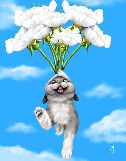 Фото Смешной кролик летит на белых цветах. Художница Veronica Minozzi