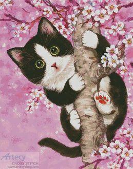 Фото Котенок на цветущем весеннем дереве