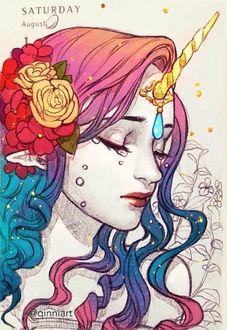 Фото Лицо плачущей девушки-единорога с цветами в волосах, by Qinniart