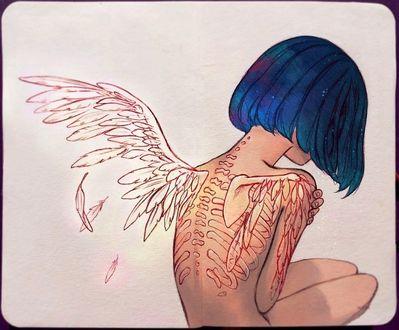 Фото На спине девушки с синими волосами оживают нарисованные крылья, by Qinniart