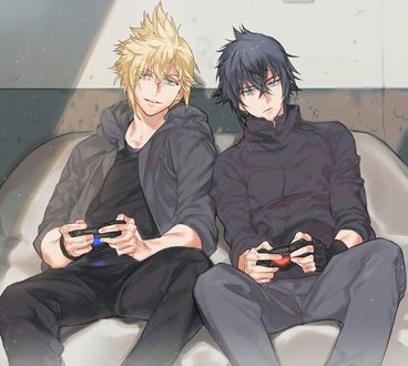 Фото Промпто / Prompto и Ноктис / Noctis вместе играют в PS4 из игры и аниме Последняя фантазия 15 / Final Fantasy XV