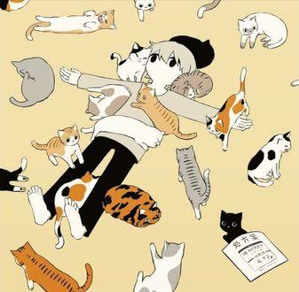 Фото Парень лежит на полу, раскинув руки, в окружении котят, котов и кошек, by Avogado6