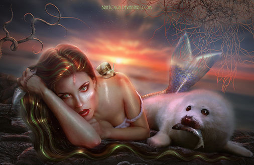Фото Русалочка с заплаканными глазами с улиткой на плече лежит на берегу моря с белым тюленем, у которого во рту рыба, by BrietOlga