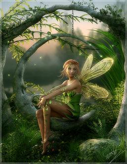 Фото Девушка- эльф с крылышками сидит на поляне среди деревьев, by cosmosue