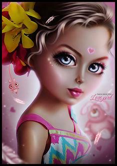 Фото Милая девочка с цветами в волосах на фоне сердечек и игрушек, by saritaangel07