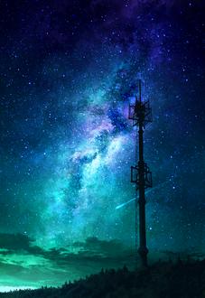Фото Вышка на фоне ночного неба и млечного пути, by mks
