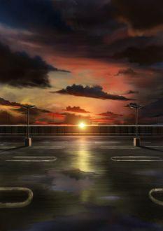 Фото Вид на закат солнца с дороги