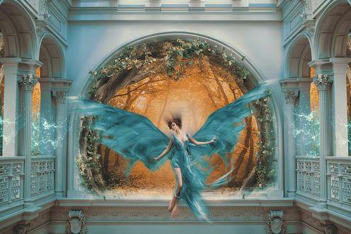 Фото Девушка - парящий ангел в большом зале с выходом в туманный лес, by Zaman Doktoru
