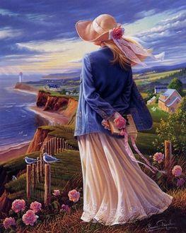 Фото Девушка в шляпе и длинном платье любуется видом на море, by Rosanne Pomerleau