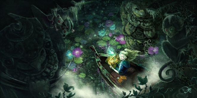 Фото Девочка в лодке на таинственном озере, окруженном летучими мышами и обезьяной