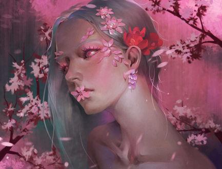 Фото Белокурая девушка с розовыми глазами среди веточек с розовыми цветами, by Midfinger