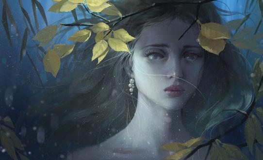 Фото Длинноволосая девушка на переднем фоне веточки с листьями, by Midfinger