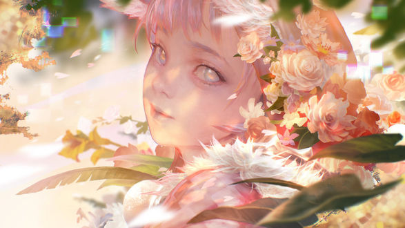 Фото Девушка среди розовых цветов, by rabbiteyes