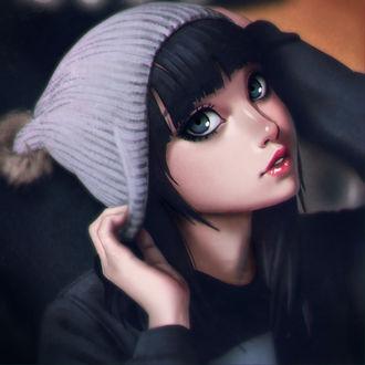 Фото Темноволосая девушка в серой шапке, by xxNIKICHENxx