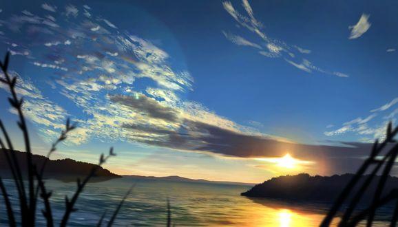 Фото Облачное небо над озером во время заката
