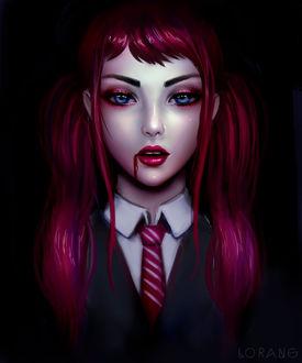 Фото Голубоглазая вампирша с розовыми хвостиками и кровью у губ, by bylorang