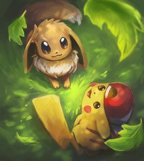 Фото Eevee / Иви и Пикачу / Pikachu из игры Покемон / Pokemon, by Foxeaf
