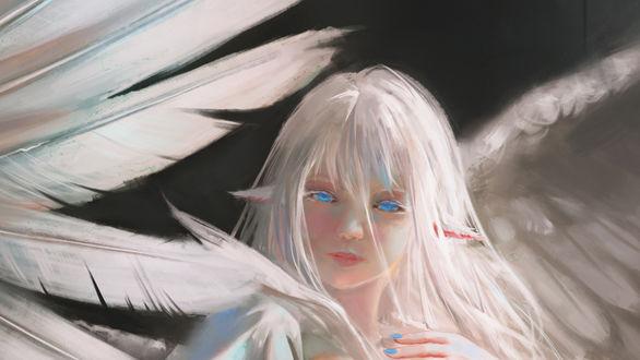 Фото Белокурая девушка ангел