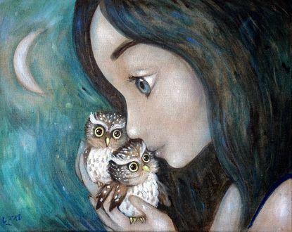 Фото Девочка с маленькими совами в руке, by GrzegorzPtakArt