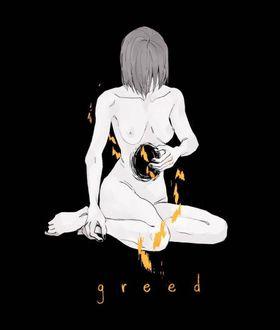 Фото Скетч обнаженной девушки, с зияющей дырой в животе, сидящей на черном фоне (greed / жадность)