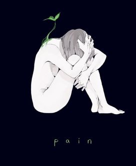 Фото Скетч обнаженной девушки, сидящей сжавшись на темном фоне, из спины которой прорастает зеленый росток (pain / боль)