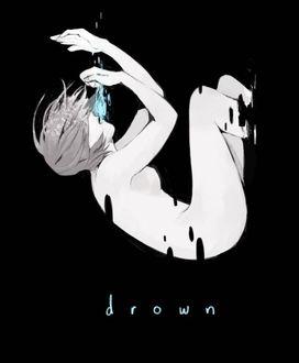 Фото Скетч обнаженной девушки, тонущей во тьме (drown / падение)