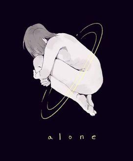 Фото Скетч обнаженной девушки, обхватив колени руками парящей во тьме (alone / одиночество)