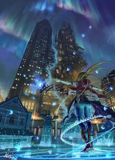 Фото Девочка стоит на фоне небоскреба, by Kaitan
