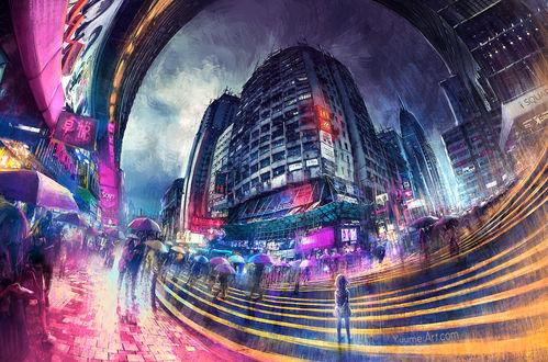 Фото Девочка стоит на улице города, заполонившего людьми с зонтами, by yuumei