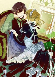 Фото Юная горничная собирается поцеловать спящего в кресле парня, by Kuroyuki
