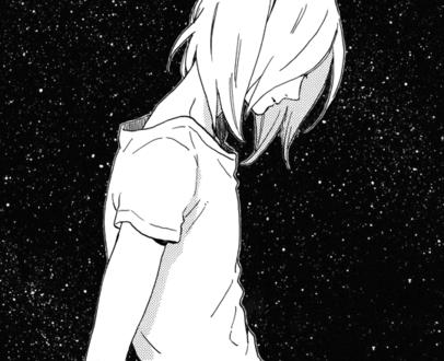 Фото Девушка с опущенной головой на фоне звездного неба