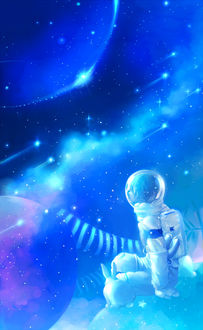 Фото Мальчик-космонавт и белый кролик сидят на планете, by Lily