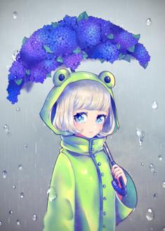 Фото Девочка с зонтом из гортензий стоит под дождем