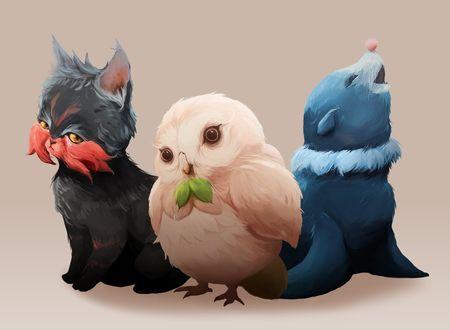 Фото Litten / Литтен, Rowlet / Роулет и Popplio / Попплио из аниме Pokemon / Покемон, by MrRedButcher