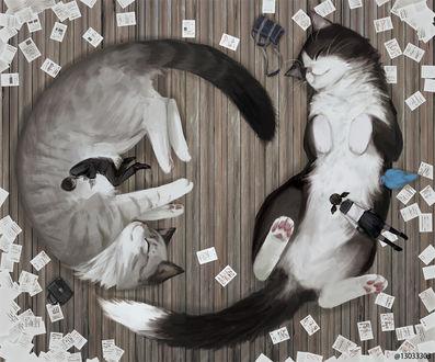 Фото Двое школьников спят, прижавшись с огромным кошкам, by @13033303