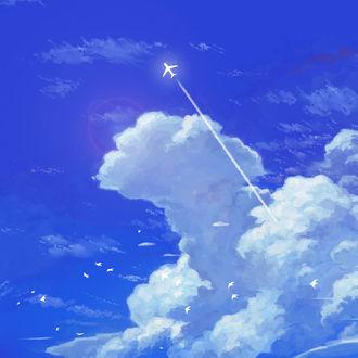 Фото Самолет в облачном небе, by susame