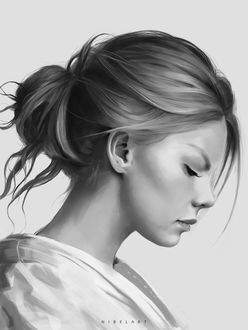Фото Рисунок девушки в профиль, by Nibelart