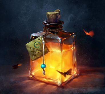 Фото Загадочна запечатанная бутылочка со светящейся жидкостью, вокруг которой порхают мотыльки, автор Vera Velichko