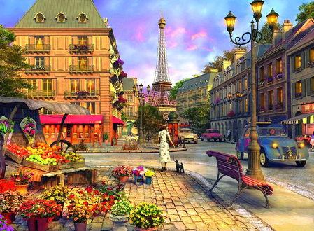 Фото На улице, вымощенной булыжником, торгуют цветами и овощами, фруктами, едут машины между домами и прогуливаются люди, вдали Эйфелева башня