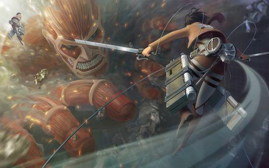 Фото Сражение с монстром в аниме Shingeki no Kyojin / Атака на титанов