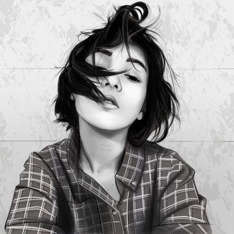 Фото Черно-белый рисунок девушки в рубашке, by Ciov-art