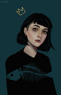 Фото Темноволосая девушка в кофте с рыбьем скелетом, by arnaerr