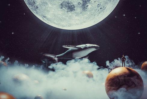 Фото Парень стоит на планете и смотрит на парящего над облаками кита, by Amr Elshamy