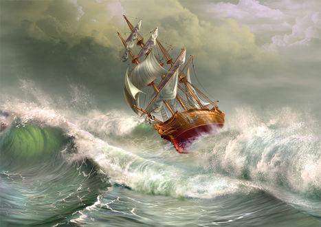 Фото Парусник на воде во время шторма, by YuriPlatov