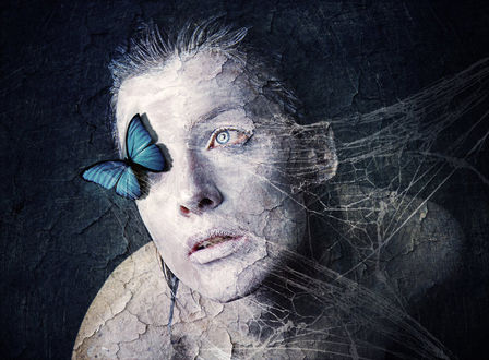 Фото Девушка с бабочкой на лице, by milky78