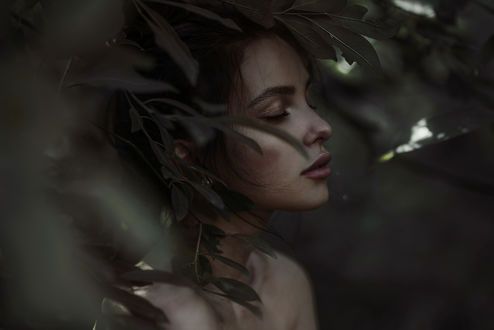 Фото Девушка за листвой. Фотограф Сакрюкин Кирилл