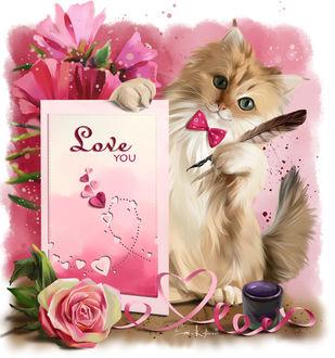 Фото Бело-рыжий кот с розовой бабочкой, с пером и бумагой (Love you / Люблю тебя), by Kajenna