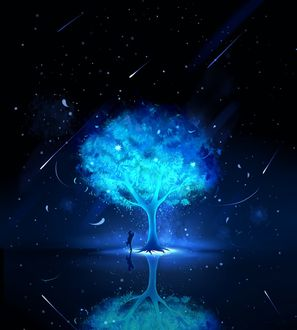 Фото Влюбленные под деревом, растущем на маленьком островке на фоне ночного неба и падающих звезд